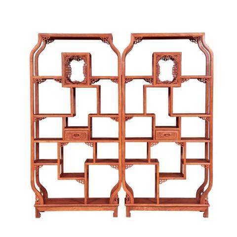 红木实木中式五福博古架隔厅柜储物书架多用柜