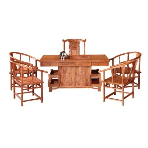 红木茶桌椅组合具 中式泡茶桌 实木 仿古家具 功夫茶桌