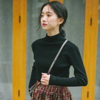 韩版新款半高领坑条针织衫毛线打底衫长袖修身显瘦套头纯色上衣女