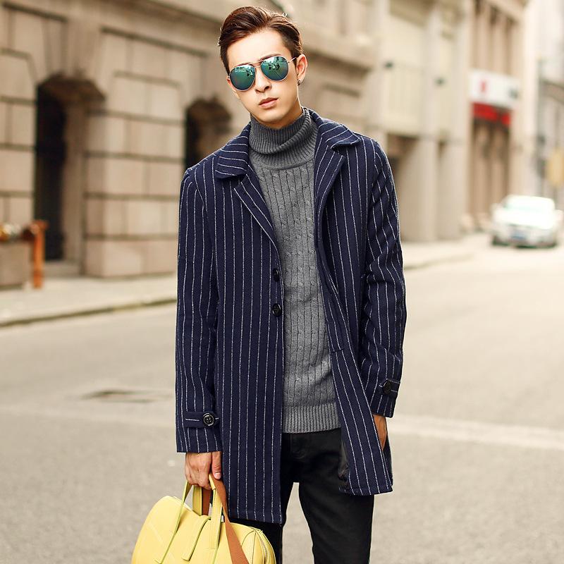 新款复古国际范修身中长款男式外套