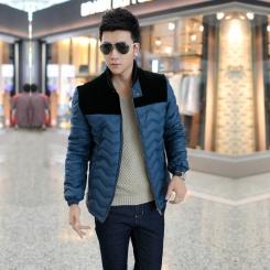 品牌男装冬季新款拼色立领男式棉衣
