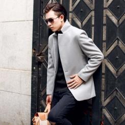 新款潮男修身纯色欧美范中长款呢子大衣
