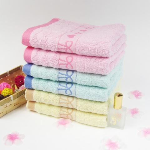 蝴蝶结纯棉毛巾 全棉面巾回礼 礼品赠品 洗脸洁面擦脸毛巾