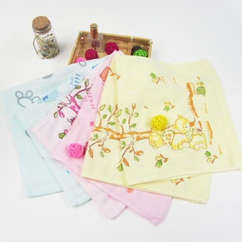 纯棉童巾 新生儿 婴儿 宝宝小毛巾 纱布卡通图案 可爱洁面巾