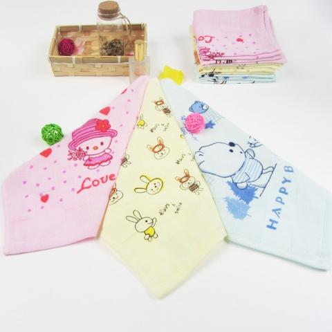 纯棉全棉纱布儿童宝宝新生儿卡通幼儿园婴儿小毛巾童巾/方巾
