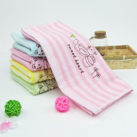抱抱熊纯棉童巾 宝宝儿童毛巾 纱布 无捻纱 柔软吸水小毛巾