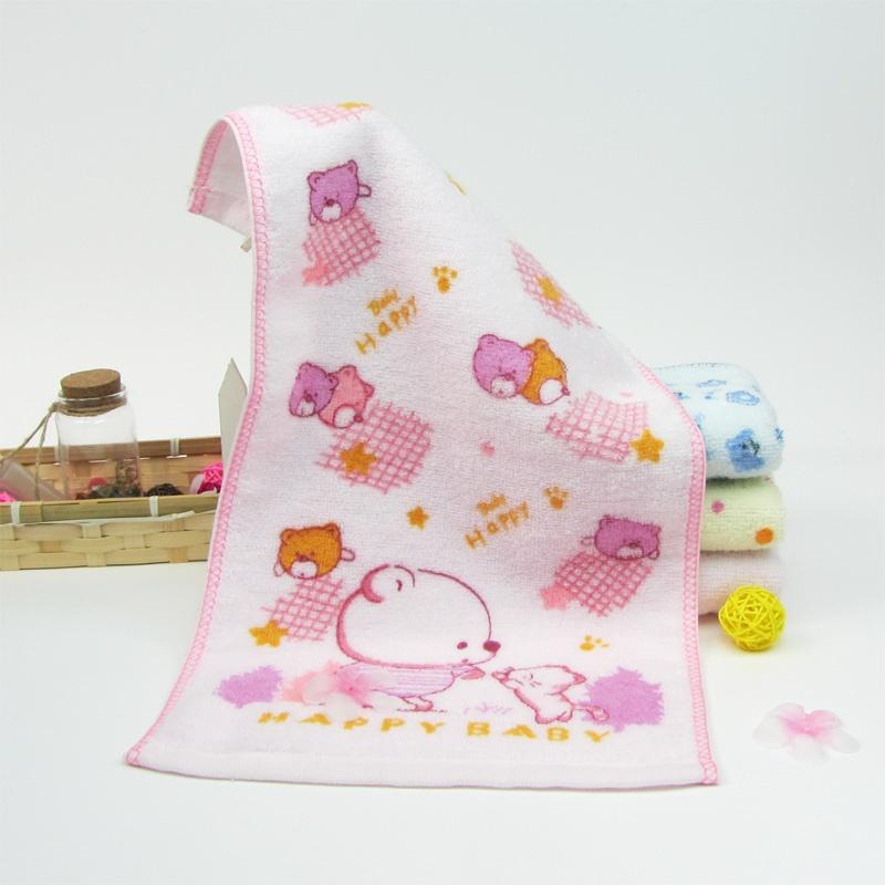 卡通图案童巾 儿童宝宝小毛巾透气洁面面巾 柔软吸水 无捻纱