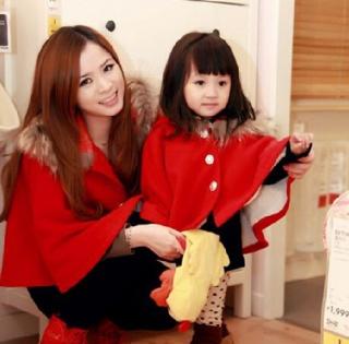 韩国童装秋冬款女童斗篷披肩风韩版外贸原单童装儿童毛妮呢子风衣