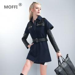 女式呢大衣藏蓝色中长款风衣