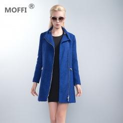翻领蓝色中长款风衣女装外套
