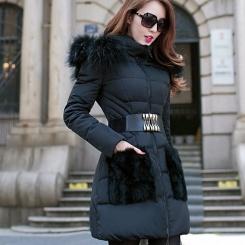 大毛领棉衣冬装新款女装韩版修身中长款羽绒棉衣棉服