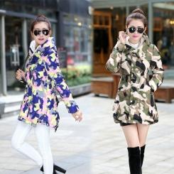 韩版斗篷装迷彩棉衣女冬季中长款修身显瘦羽绒棉服