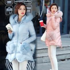记忆面料纯色拉链时尚修身中长款羽绒服 冬季长袖