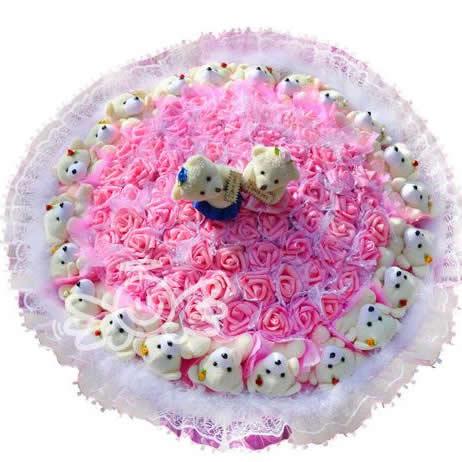 紫豪华熊 仿真玫瑰花 卡通花束