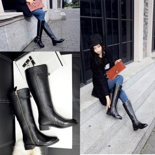 冬季保暖厚毛绒长靴真皮圆头平跟高筒女靴简约骑士靴子