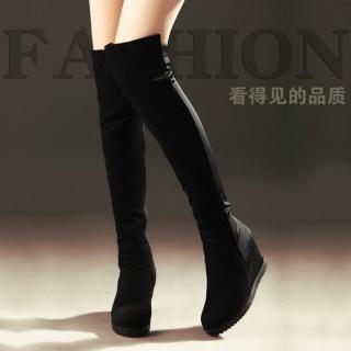 过膝女靴磨砂真皮瘦腿女靴子