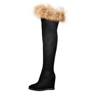 长靴大牌同款狐狸毛坡跟过膝靴