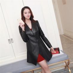 真皮皮衣女风衣中长款  新绵羊皮韩版修身单皮时尚外套