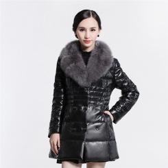 新款狐狸毛领修身中长款绵羊皮衣真皮羽绒服女士外套