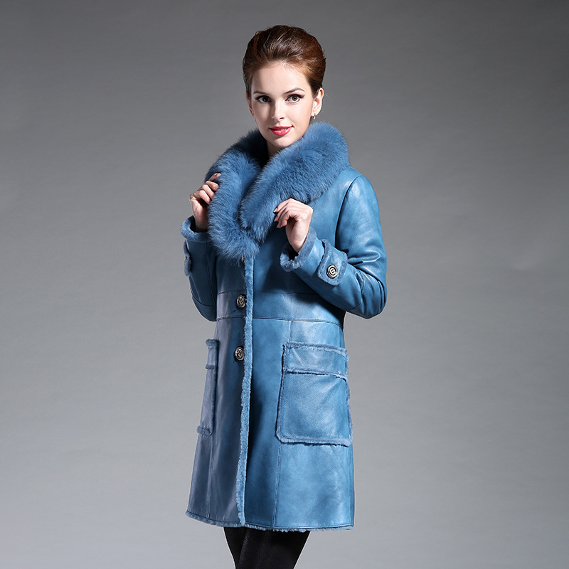 新款皮毛一体女士狐狸毛领皮衣中长款大衣真皮皮草外套