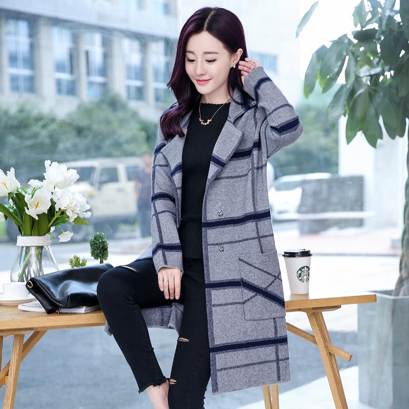 针织衫/毛衣格子通勤冬季长袖开衫中长款格子
