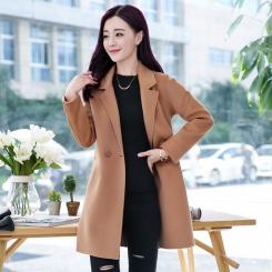 毛呢外套纯色通勤 冬季长袖中长款修身纽扣时尚
