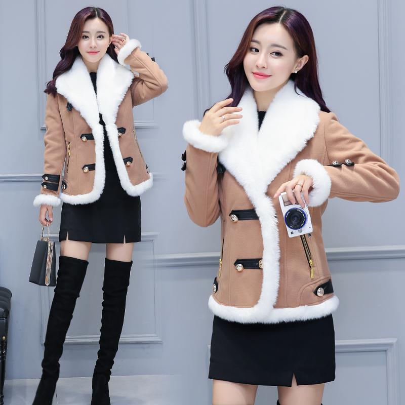 通勤毛呢外套冬季中长款修身拼接时尚修身纯色