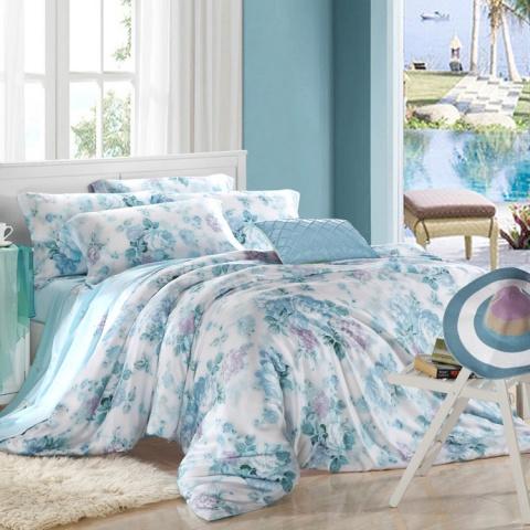 活性印花工艺床上用品40天丝四件套-青花瓷韵