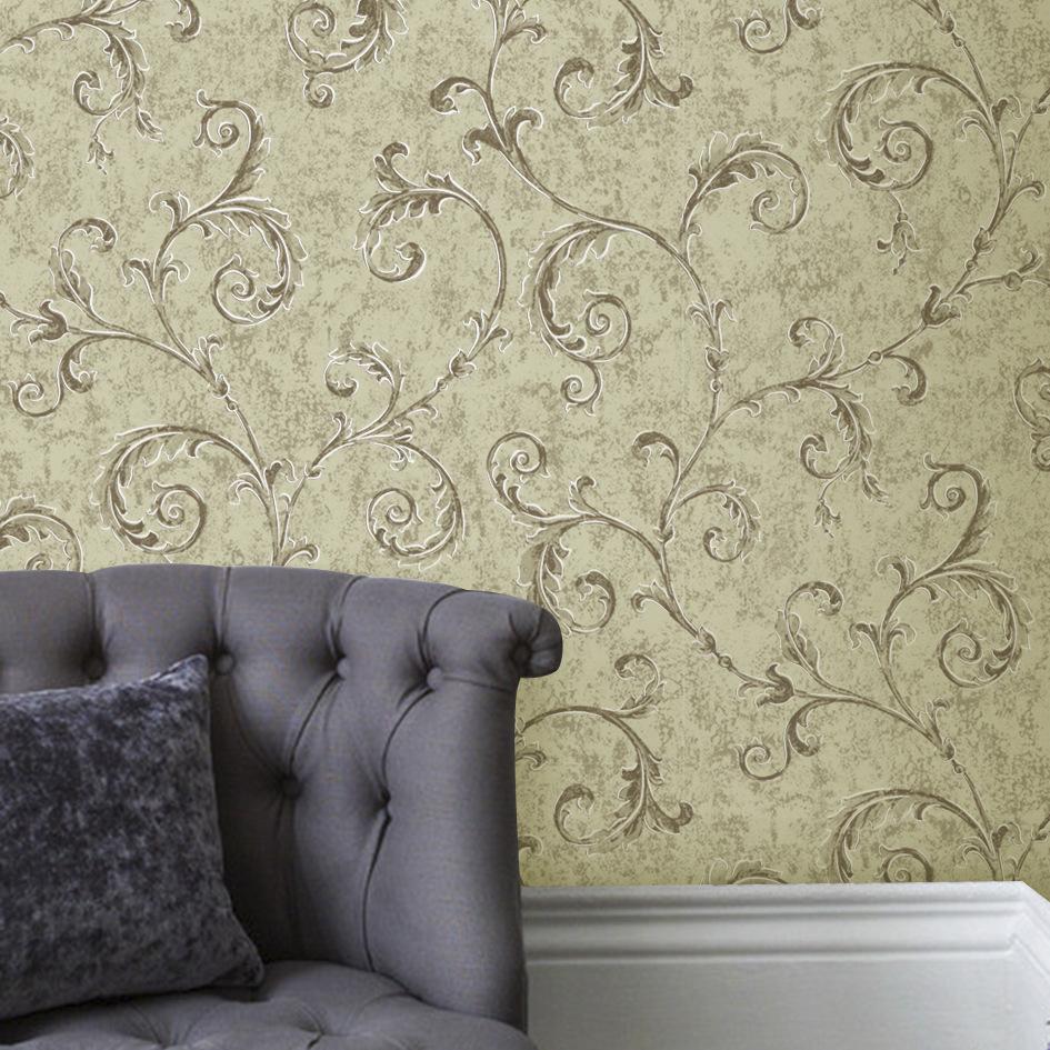 诺菲雅无纺金色勾边壁纸卷叶欧式卧室客厅墙纸