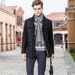 秋季新款品质男装 欧美时尚纯色男式风衣