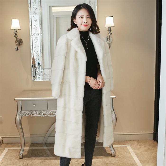 新款海宁整貂皮草西装领大衣女中长款进口水貂皮裘皮外套长袖