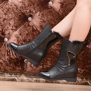 秋冬女鞋新款时尚高端真牛皮加厚马丁短单靴子