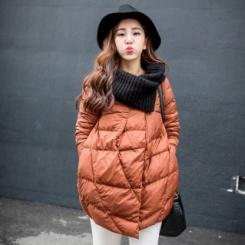 针织领韩版潮流校园风长袖中长款面包羽绒服