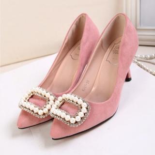 欧洲站新款韩版单鞋尖头水钻绒面珍珠镶钻方扣高跟鞋女鞋