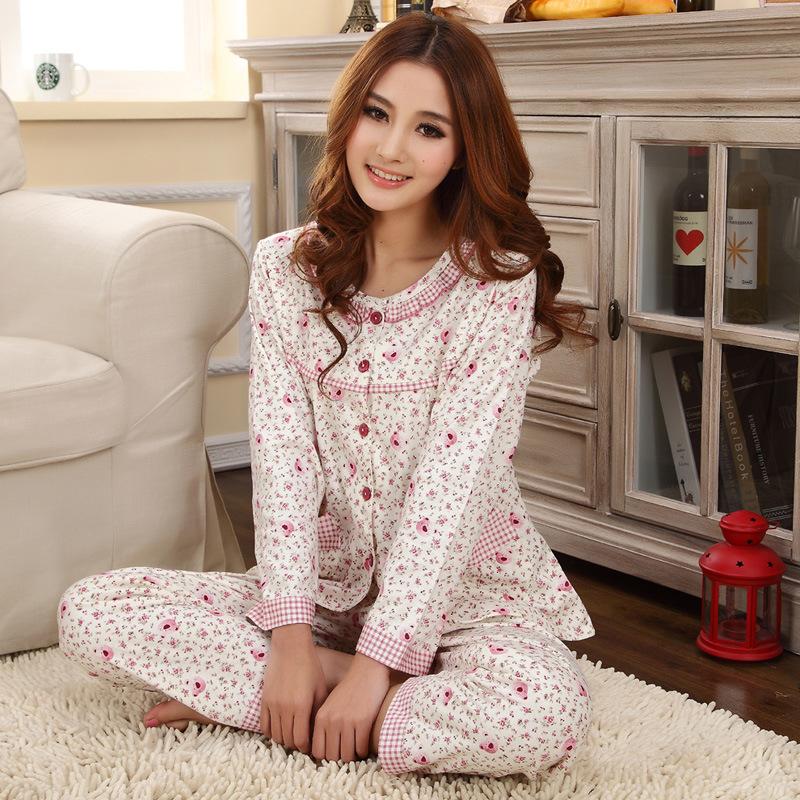 女士长袖针织纯棉睡衣家居套装开衫可爱猫咪春秋厚款睡衣