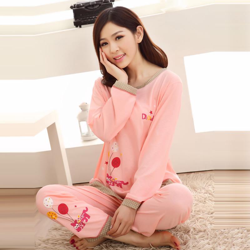 新品女士针织纯棉睡衣长袖家居服套装休闲家居服