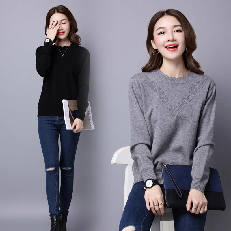 长袖针织衫/毛衣 秋季套头半高圆领时尚修身