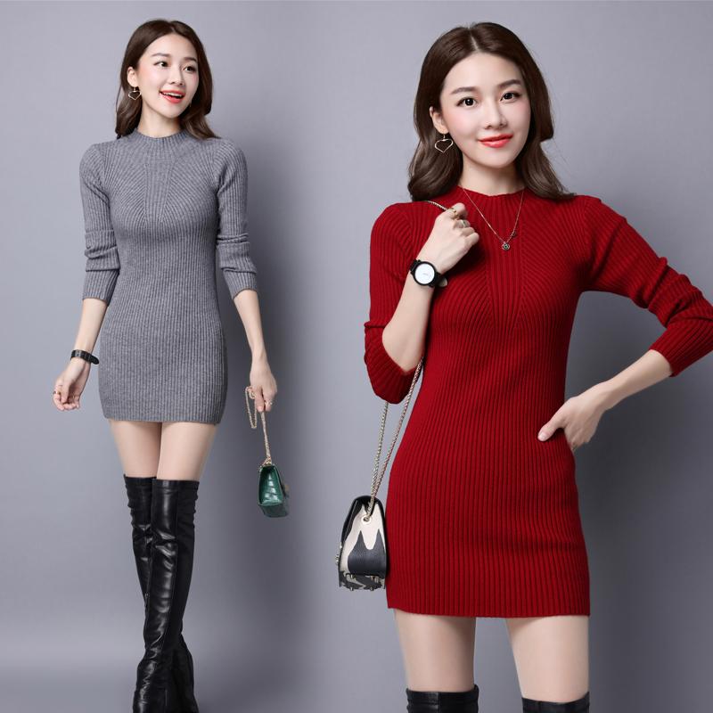 长袖修身 秋季套头半高圆领针织衫/毛衣时尚