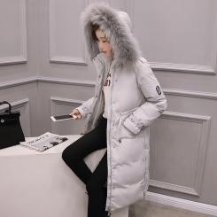 长袖中长款修身 冬季拉链可脱卸帽羽绒服