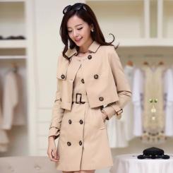 新款女装风衣中长款双排扣外套韩版修身薄学生潮纯色通勤