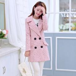 秋冬新款女装韩版纯色甜美中长款修身淑女毛呢外套