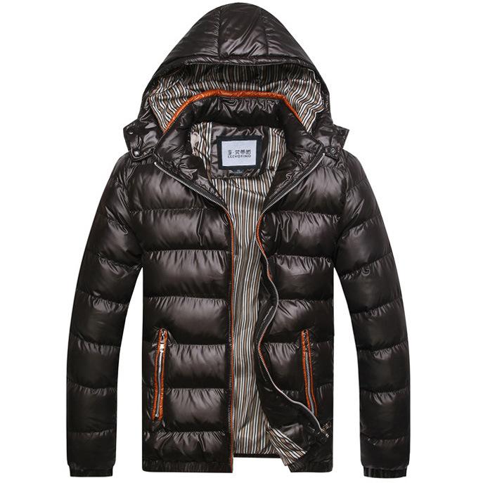 新款男保暖加厚棉袄连帽撞色五色棉服外套秋冬装棉衣