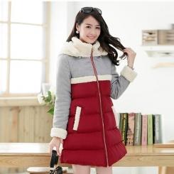 冬季新款韩版大码修身羊羔毛拼接中长款棉衣棉服女款
