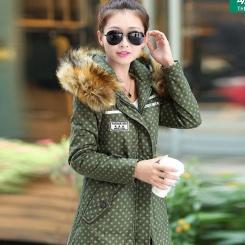 秋冬新款韩版大码修身中长款加厚加绒印花棉衣棉服女