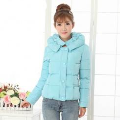 冬季新款韩版大码修身小清新短款糖果色加厚羽绒棉服女