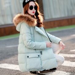 韩版大毛领品牌羽绒服女中长款A版大外套