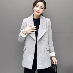 秋冬装新款呢子大衣韩版气质修身大码中长款毛呢外套女潮