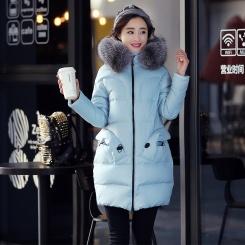 秋冬韩版新款轻薄羽绒服女银狐毛连帽长款