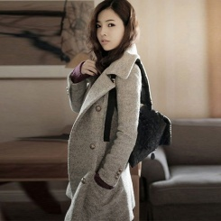 秋冬新款韩版修身气质加厚呢子大衣毛呢外套女中长款大码