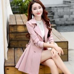 纯色修身双排扣中长款长袖秋季风衣